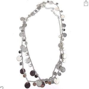 Lia Sophia Silver Long Circle Necklace